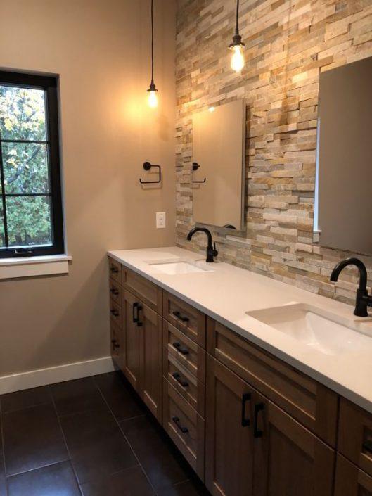 Stacked Stone Backsplash Bathroom