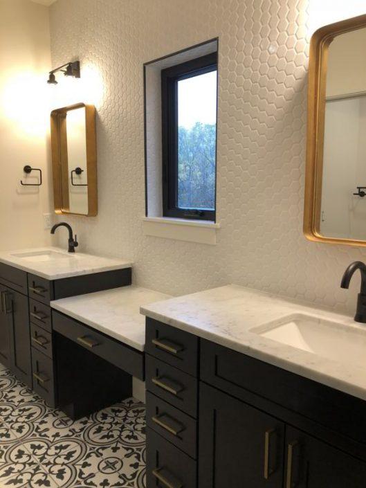 Octagonal Porcelain Backsplash Bathroom