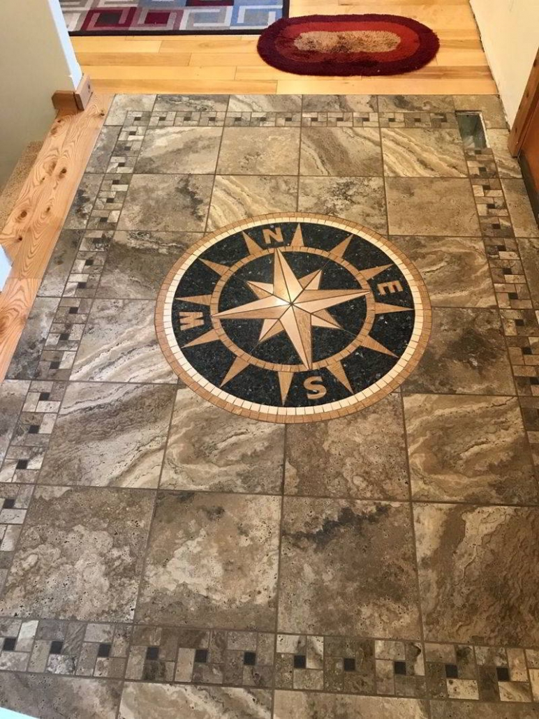 Custom Compass Rose Inlay in Kewadin using Marazzi Archaeology Tile