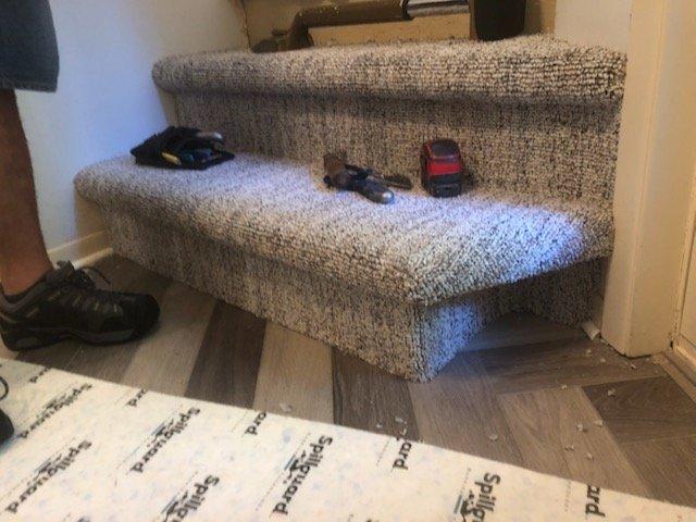 Carpet and Herringbone Coretec Install