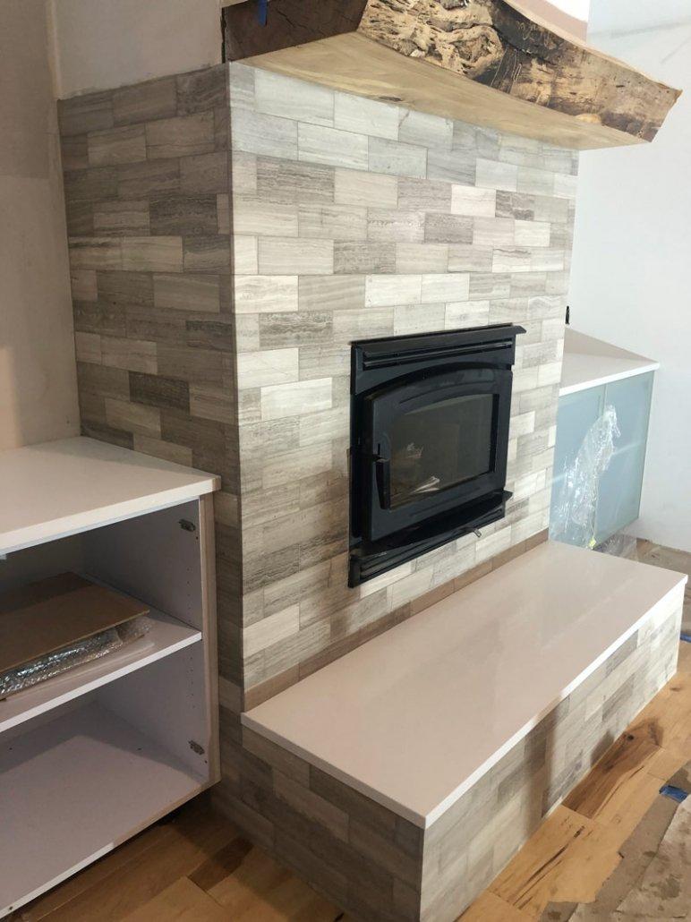 Custom Fireplace Backsplash